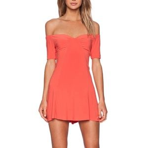 NBD x REVOLVE whoops ruched coral flare dress s